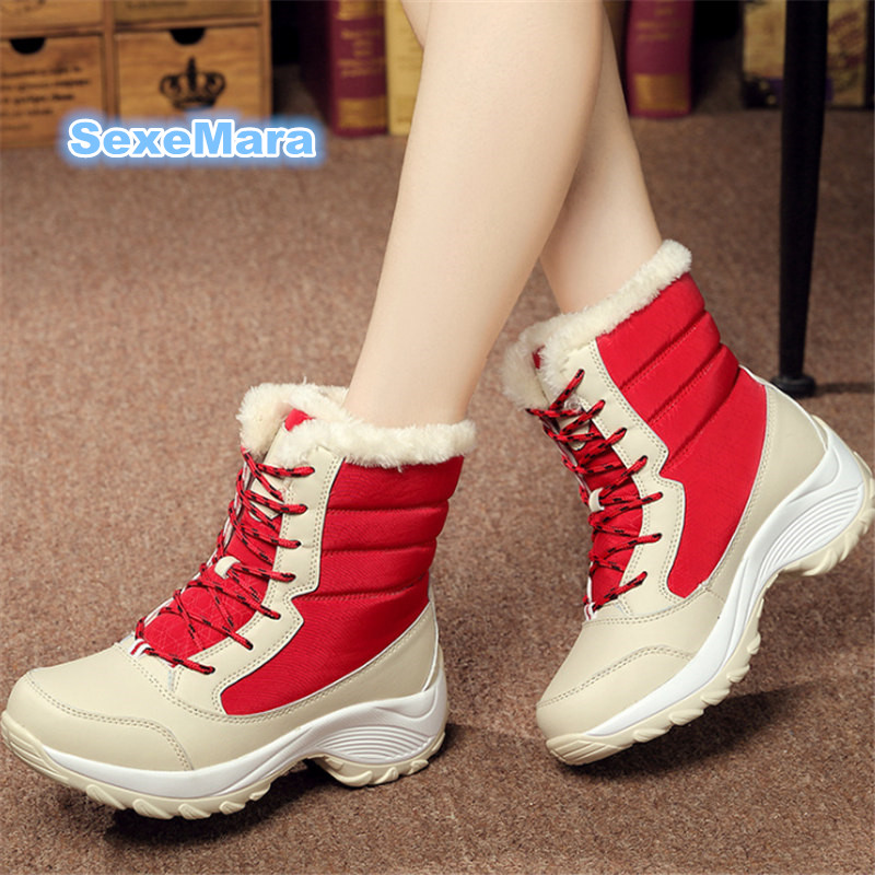 New Winter women snow boots outdoor woman Casual shoes thigh high boots velvet warm Bare boots Designers tenis feminino EU 35-41 ...