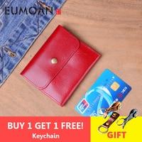 EUMOAN Genuine Leather Wallet Women Vintage Handmade Female Short Small Wallets Coin Purse Card Holder Case