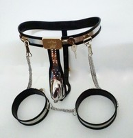 3pcs/set Adjustable Arc stainless steel male chastity belt cock cages+anal plug+Thigh ring Penis Rings male chastity device