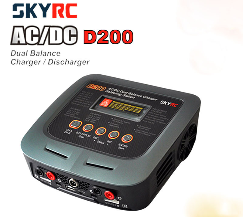 SKYRC D200 Dual Balance Charger Discharger Soldering Station Car #SK-100097-03 skyrc sk 800084 01 b6 mini 6a 60w dc11 18v professional balance charger discharger w t 2 6lcd