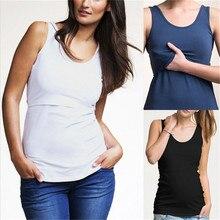 Женская одежда для беременных; майки; Топ; футболка без рукавов; летние топы для кормящих мам; жилет для кормления грудью; футболка; Топ