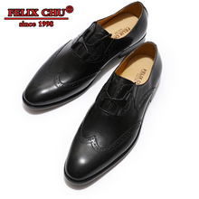 FELIX CHU Summer Black Men Genuine Leather Shoes Lace Up Oxford Formal Brogue Wedding men  Business Office Work shoes male