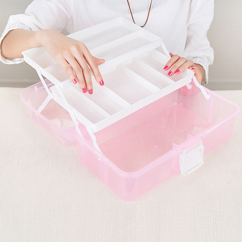 Transparent Plastic Foldable Three Layers Storage Box Tool Organizer Container Case With Handle Jewelry Storage Organizer