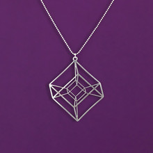 One piece Hypercube - Gold/Silver plated Geometry necklace - Tesseract - math gift With 50cm chain