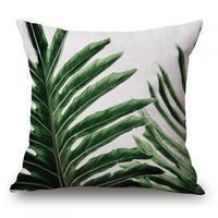 Hersteller Großhandel Kundenspezifische Grüne Samt Druck Baumwolle Leinen Grüne Blatt Kissenbezug 45 cm