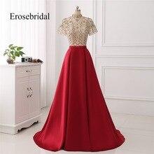 2019 Evening Dress A Line New Autumn Gown Fancy Beaded Bodice Elegant Satin Skirt robe de soiree Short Sleeve In Stock