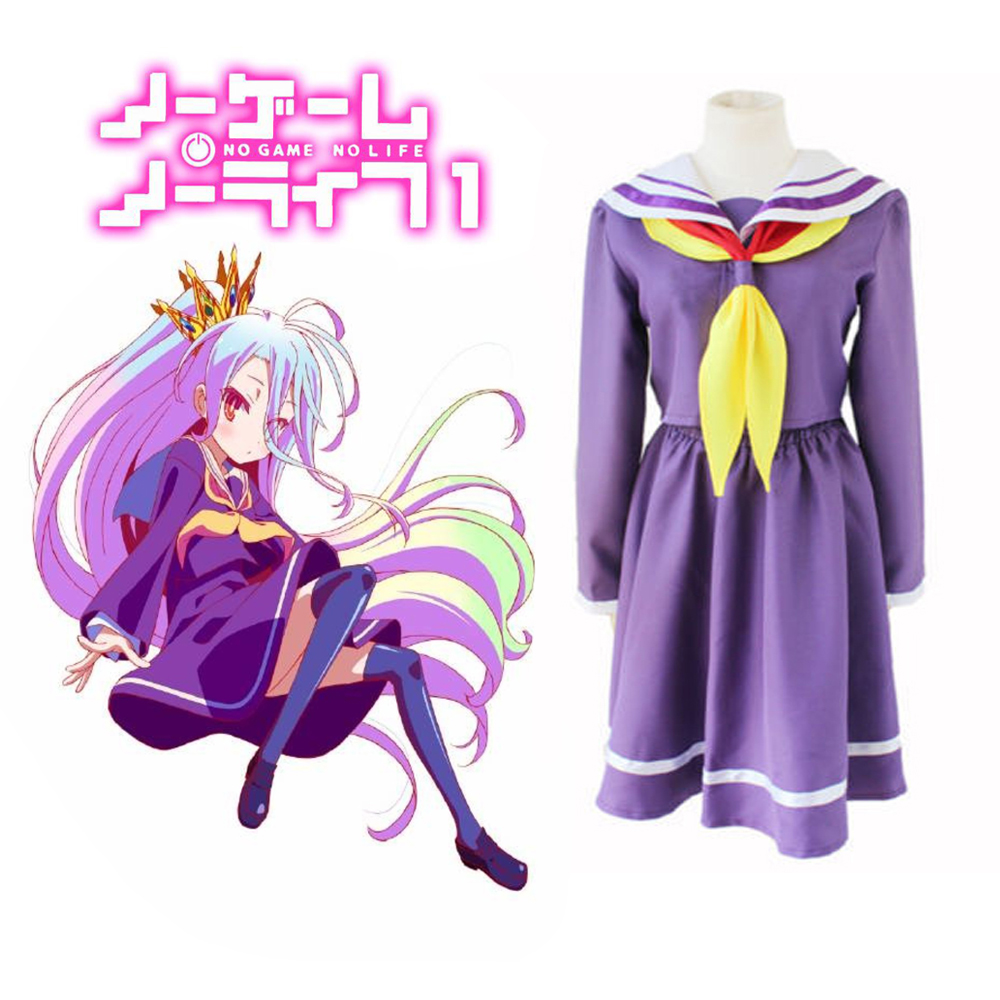 No Game No Life Shiro Emboitement Heroine Purple Sailor Cosplay Costume Suit (top+ Skirt+ Bow Tie+ Shoulder Tape+ Oversleeve)