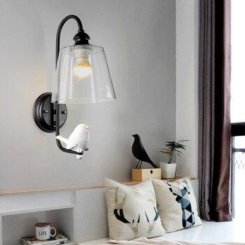 Nordic Modern Resin Bird Wall Lamp , 1-Light Glass Lampshade E27 Wall Sconces Light Home Decor Art for Bedroom Corridor Hotel
