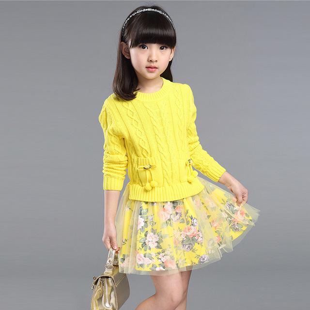 2016 outono Conjunto Menina do inverno Vestido de Tricô De Algodão Tule Bebê TuTu Vestido da menina de Manga Comprida Camisola de Malha vestido da menina do bebê 6-12y