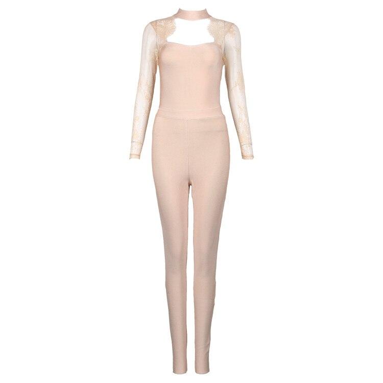 kaki Dos Femmes 2017 Robes Combinaisons Bandage Barboteuses Mode Sexy Noir Longues Beige Dentelle Nu Longueur Noir Salopette Pleine Nude Manches Z8cHyaqZ
