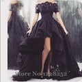 2016 Arabic Black Lace Prom Dresses High Low Off Shoulder with Short Sleeve Ruffle Sheer Neck Tulle Vintage Formal Dress