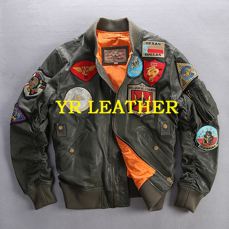 YR!Free Shipping.100% Tanning Goatskin.Brand Classic A1 Leather Bomber Jacket,mens Slim Genuine Leather Coat,plus Size