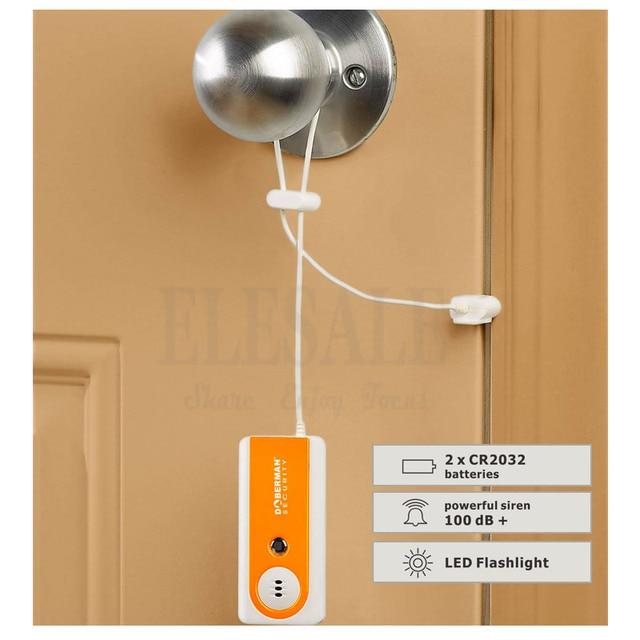 Sécurité Portable Voyage Alarme De Porte D'entrée Défense Intruder Alarme 100dB lampe de Poche Pour La Maison Bureau Appartement Hôtel