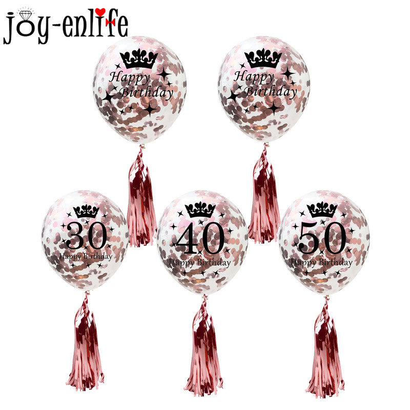 Birthday Party Decorations Adult 5pcs 30/40/50th Happy Birthday Confetti Balloons Rose Gold Tassels Anniversary Party Supplies-in Ballons & Accessories from Home & Garden