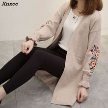A long paragraph sweater coat, 2018 new Korean embroidered bubble sleeve loose knit cardigan female split thickening Xnxee