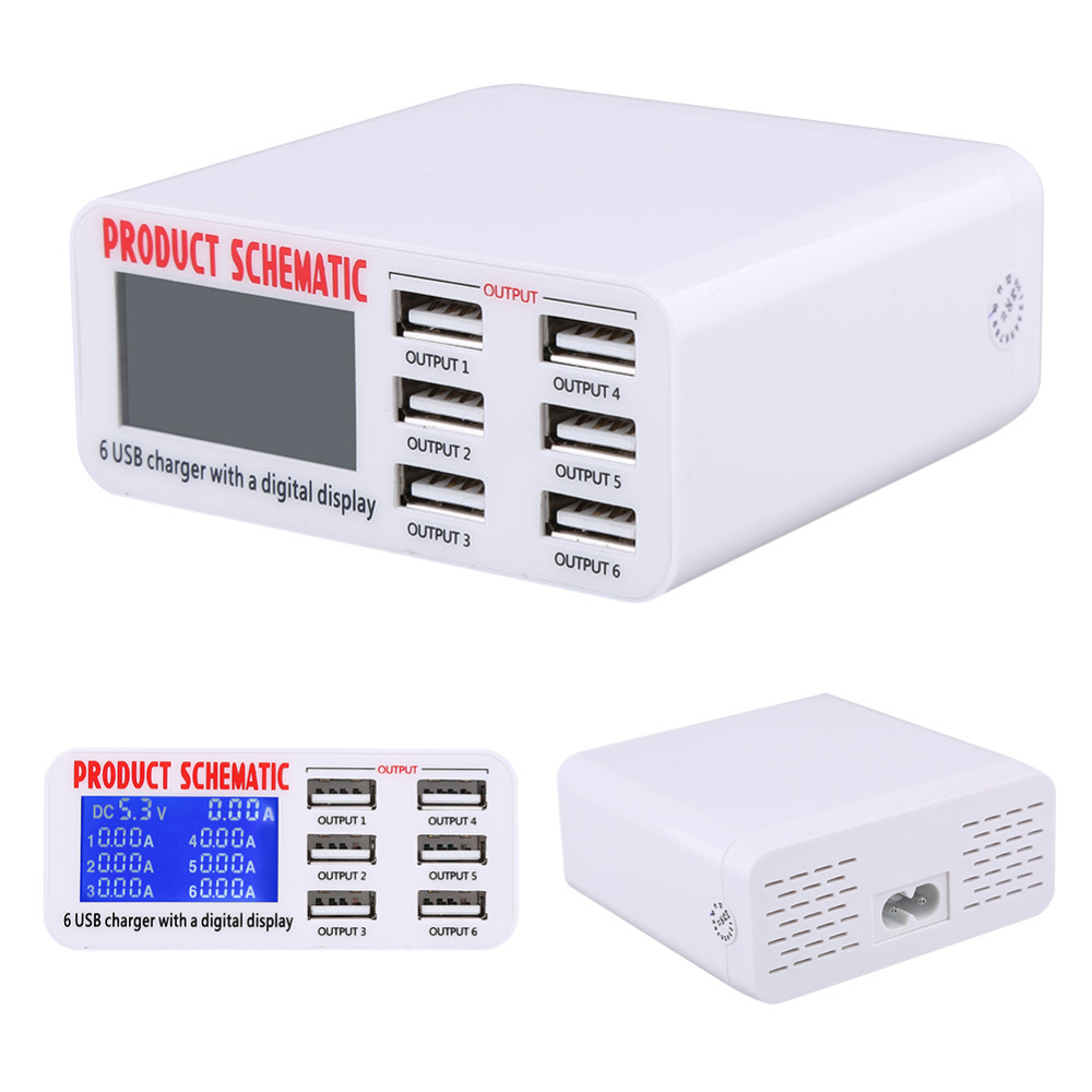 6 ports usb charger travel chargers lcd digital display smart charging station multi port usb [ 1000 x 1000 Pixel ]
