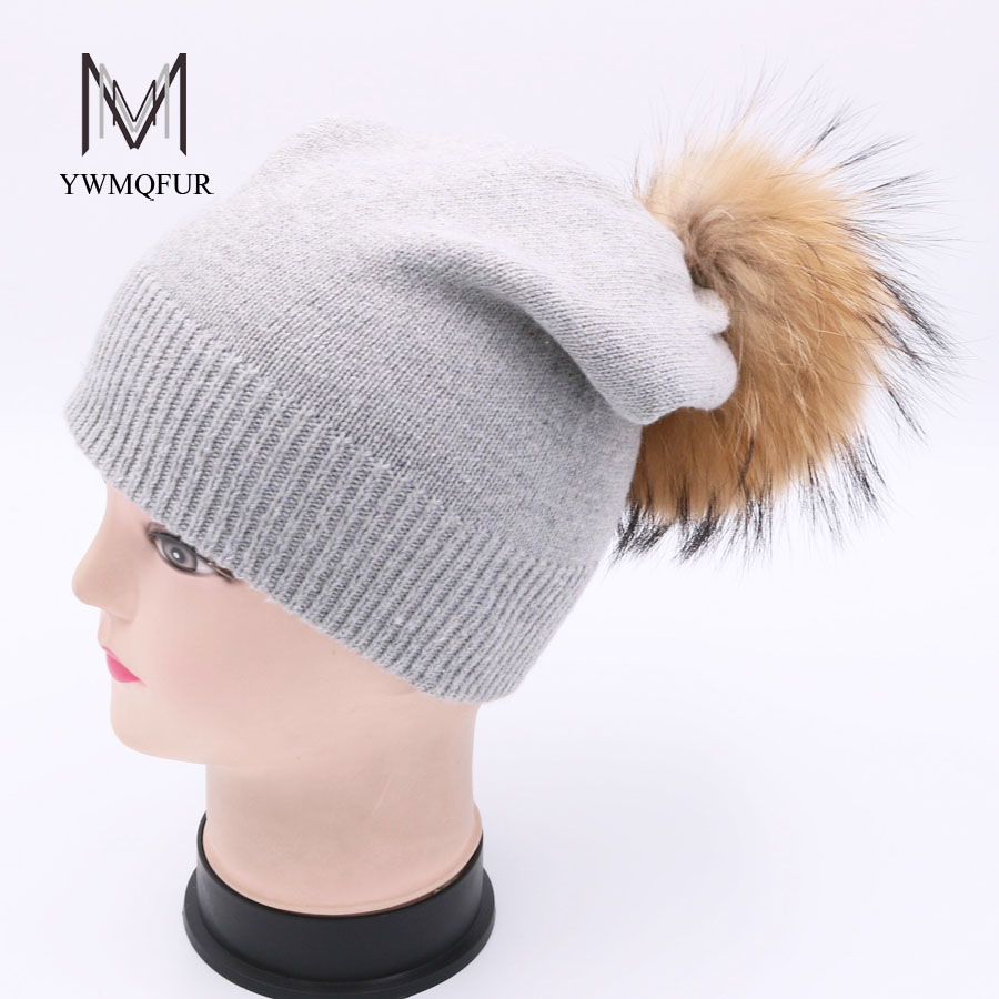 YWMQFUR Winter Knitted Wool Cap With Raccoon ball Baggy Beanie Female Pompom Women Hat Skullies Autumn Bonnet Femme Cap Gorros knitted skullies cap the new winter all match thickened wool hat knitted cap children cap mz081