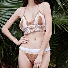 Women Bikini Bandage Halter Handmade Crochet