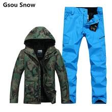 Invierno gsou nieve marca esquí hombres chaqueta de snowboard traje de esquí  mantener caliente impermeable 10 68da4a263c8