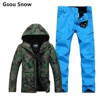Mùa đông gsou snow thương hiệu trượt tuyết áo khoác người đàn ông snowboard quần áo phù hợp với trượt tuyết giữ ấm không thấm nước 10 k gsou snow mặc trượt tuyết ngụy trang
