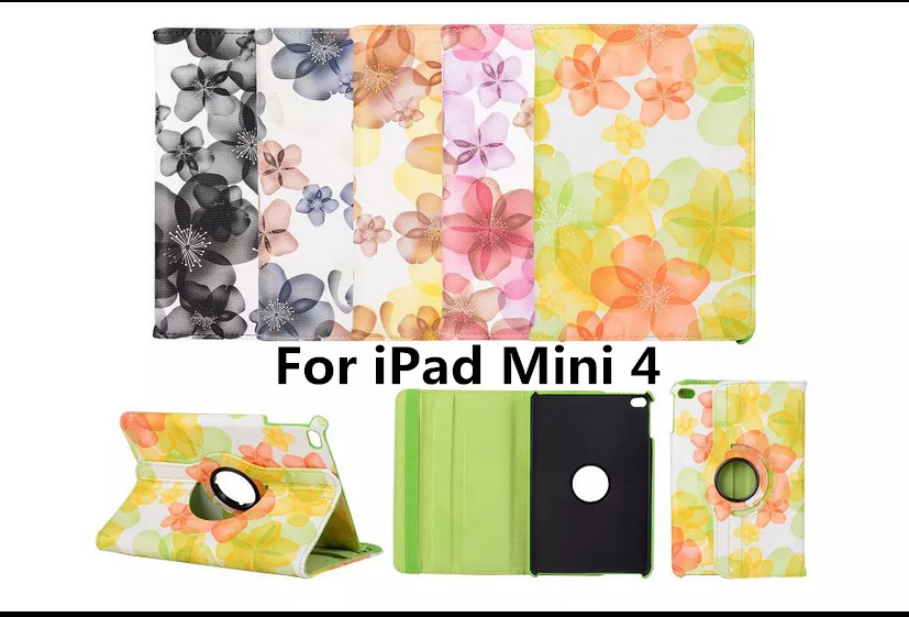 Tablet Case For iPad Mini 4 Case 360 Rotation PU Peach Blossom Print for Smart Cover iPad Mini 4 Flip Case with Stand Function 360 rotation pu leather case for apple ipad mini 1 2 3 smart cover flip case with stand function for pad mini with retina pen