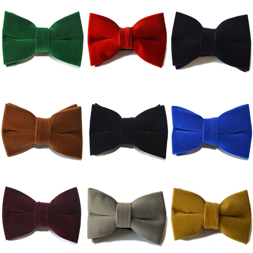 Men Velvet Big Solid Bow Tie Wedding Adjustable Pre-tied High-grade Bowtie YXTIE0501