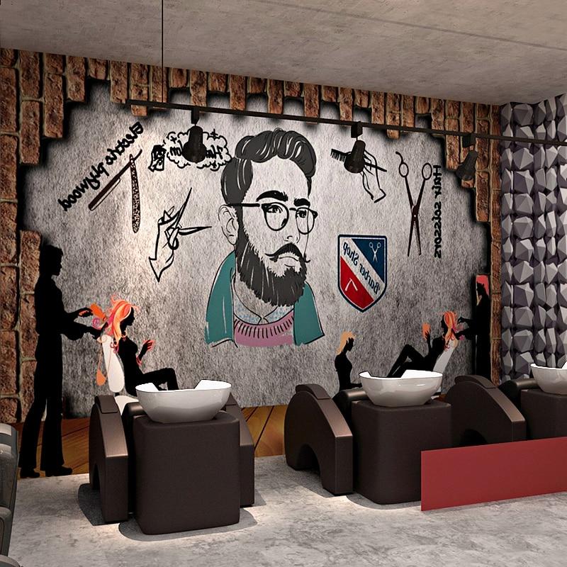 0.53x10 meters barber shop 3D stereo retro nostalgic wallpaper salon  living room bedroom restaurant custom murals wallpaper