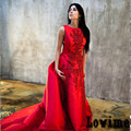 2016 новый горячий красный свадебное платье собор поезд аппликации с бусины сатинировки свадебные платья мантия де свадебная китай сделал