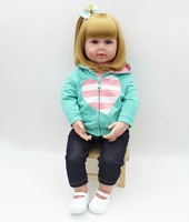 22 High Grade Princess Toddler Doll With Sandy Blonde Hair Heart Pattern Clothes Dressed Girl Doll