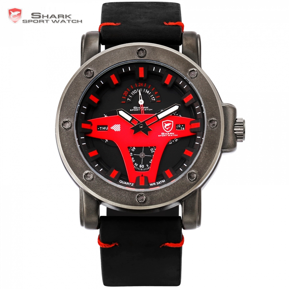 New Fashion Shark Outdoor Sport Quartz Watch Clock Date Display Alloy Case Leather Strap reloj hombre Red Black Watches /SH454 greenland shark 2 series sport watch new design red date crazy horse leather quartz clock men watches reloj hombre gift sh454