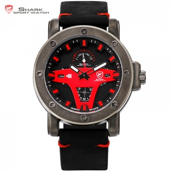 New Fashion Shark Outdoor Sport Quartz Watch Clock Date Display Alloy Case Leather Strap reloj hombre Red Black Watches /SH454
