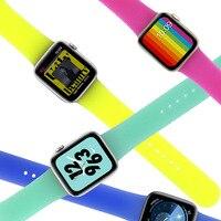 Miękki silikonowy pasek sportowy do zegarka Apple 4 3 2 1 38MM 42MM zespoły gumowa bransoletka do zegarka pasek do serii Iwatch 4 40mm 44mm
