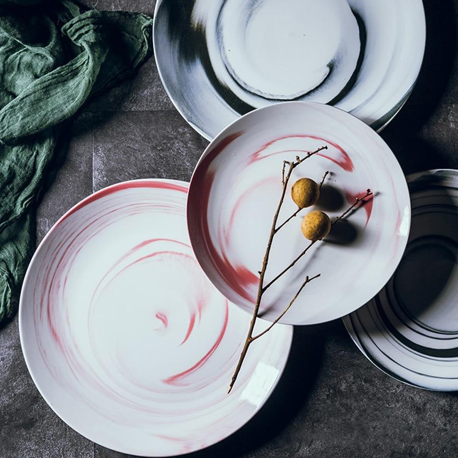 Muzity Ceramic Dinner Plate Marble Design 8 10 Porcelain Dish Nice Set-in