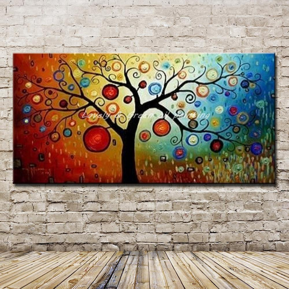 Handpainted Tree Of Life Abstract Oil Painting On Canvas Handmade