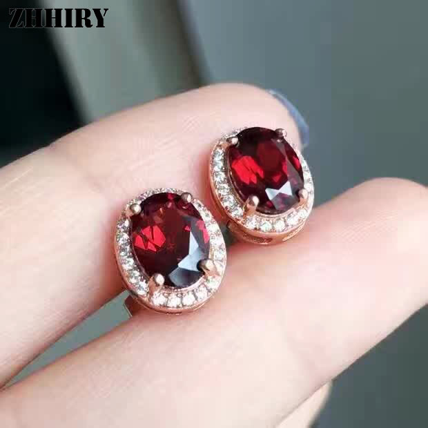 ZHHIRY véritable grenat boucle d'oreille pierre naturelle solide 925 en argent Sterling femmes boucles d'oreilles bijoux fins pierre de naissance - 3