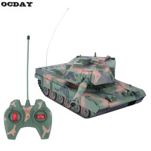 1:14 RC Tank 4CH Remote Control Tiger Tank Turret Rotation Light & Music Remote Control Model Tank Best Christmas Gift for Kids