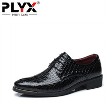PHLIY XUAN New 2019 Fashion Men dress Shoes Pointed Toe Formal Leather Official Big Size 38-48