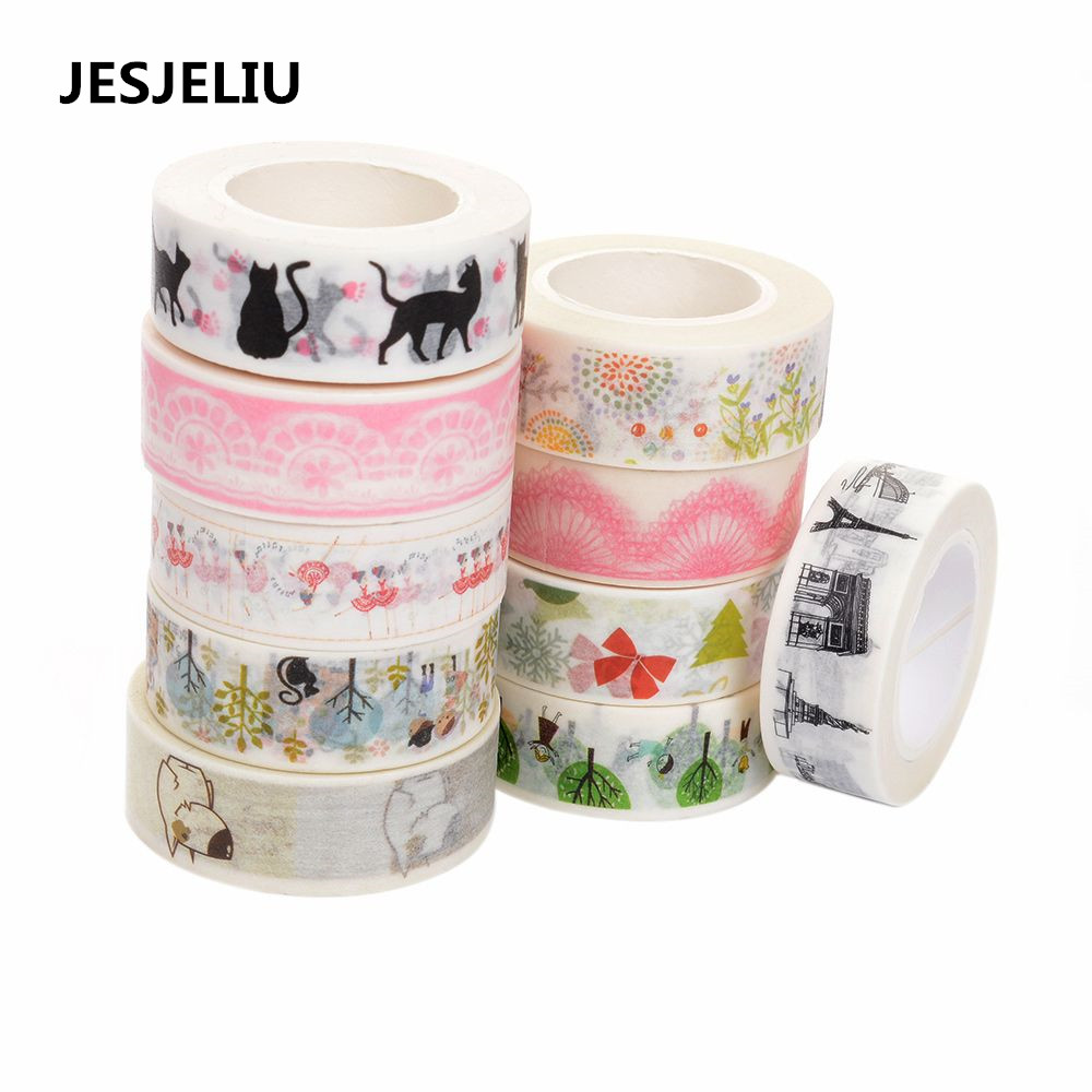 New Arrival 5PCS 1.5cm*10M Cute Animal Tape Wide Sticky Adhesive Tape Scrapbooking Album DIY Decorative Paper Tape