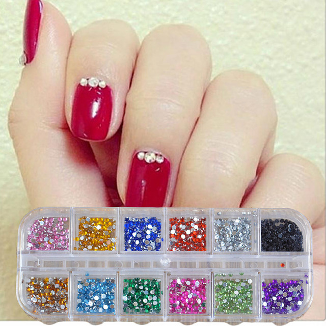 500Pcs 2mm Round Rhinestones 12 Colors Hard Case Nail Art Tips ...