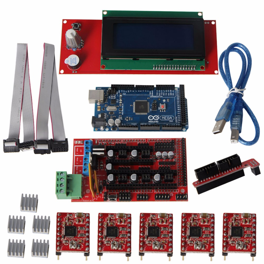 3D Printer Kit Mega2560 R3+A4988+2004LCD+RAMPS 1.4 Controller for Arduino Reprap elecfreaks opto endstop for arduino 3d printer reprap ramps black white