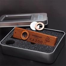 купить Mini Wooden Kazoo with Metal Case for Music Lovers Exquisite Guitar Ukulele Accompaniment Orff Instruments дешево