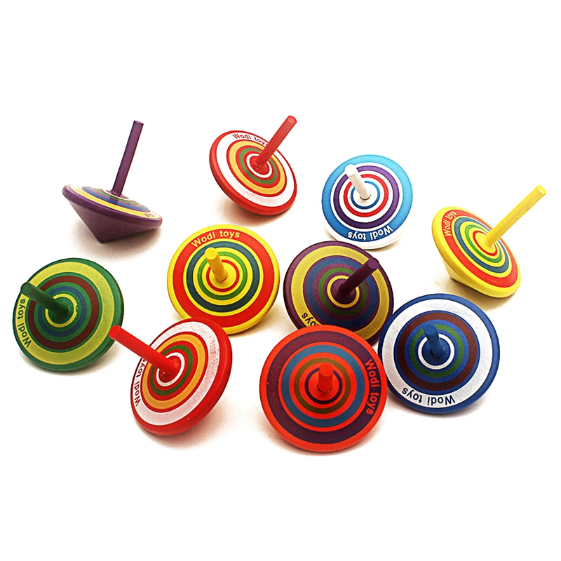 4Pcs Spinning Tops Random Color Wooden Toy Funny Gyro Colorful Beyblade Toy Spinning Top Classic Toy Beyblade Burst Toy For Kids