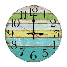 2019 new fashion wall clock wooden clocks home decor quartz watch circular single face still life stickers modern living room