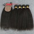 7A Virginal Indio Rizado Pelo Liso Con Cierre Afro Rizado Paquetes de Pelo Con Cierre de Seda Yaki Virginal Del Pelo Humano Recto