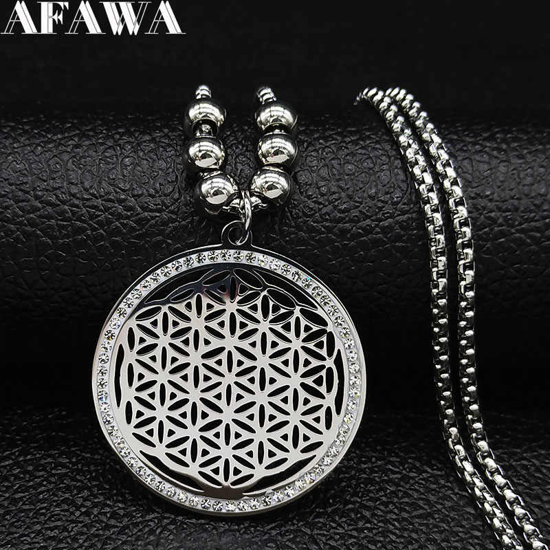 2019 Flower of Life Crystal Stainless Steel Chain Necklace Women Silver Color Bead Long Necklace Jewelry colgante mujer N19126
