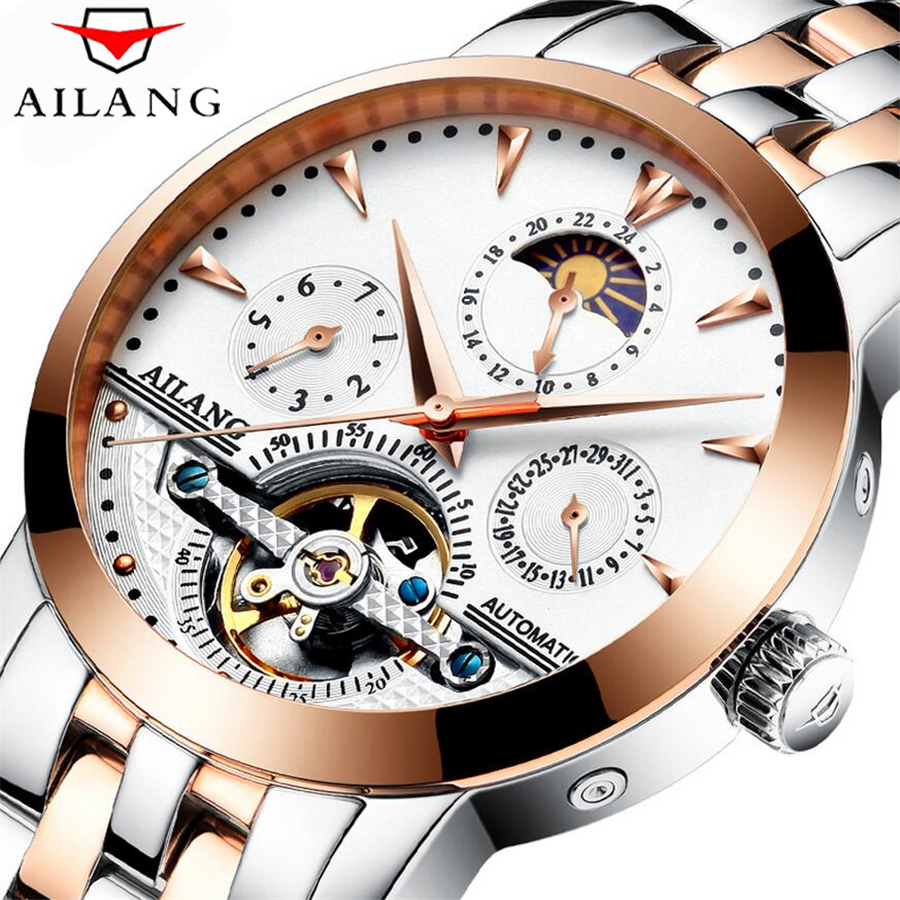 Waterproof Men Watch Luxury Brand AILANG Tourbillon Automatic Mechanical Watches Multifunction Men Watch Full Stainless Steel ailang watch men s luxury brand self wind mechanical automatic men watches fashion waterproof alarm clock male