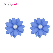 Carvejewl flower stud earrings rubber coating daisy earrings for women jewelry pearl earrings girl gift fashion Korean earrings(China)