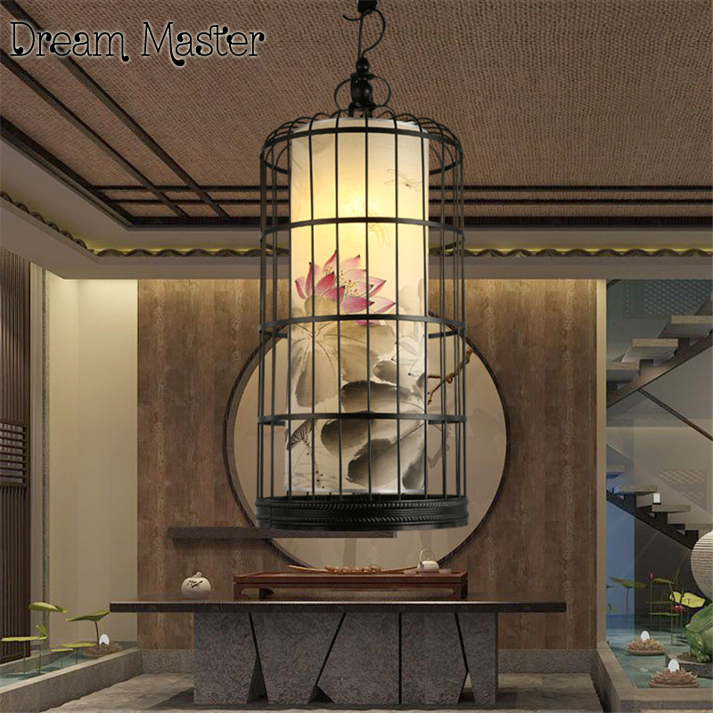 traditional chinese house new chinese iron bird cage chandelier hotel tea house restaurant