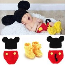 new born photo props mouse clothing set a hat,a short, pair of shoe