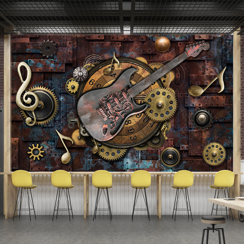 Custom Mural Wallpaper Wall Covering Retro Metal Gears Musical Notes Guitar Bar KTV Background Picture Decoration Wall Painting